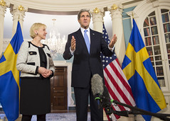 U.S. Secretary of State John Kerry and Swedish Foreign Minister Margot Wallstrom address reporters before their bilateral meeting at the U.S. Department of State in Washington, D.C., on January 29, 2015. [State Department photo/ Public Domain]