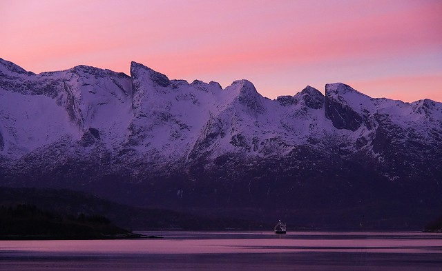Spot the Car Ferry in the pink morning up in Arctic Norway