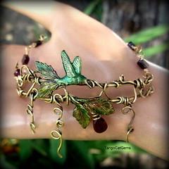 Hummingbird and Garnets Bracelet