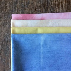 I have a bunch of fat quarter sets ready to list on etsy, but you can grab em here first! I use upcycled cotton and possible cotton/poly vintage fabrics, and dye then with natural dyes. These are cut in fat quarter size, approx 18x22 inches. All colorfast