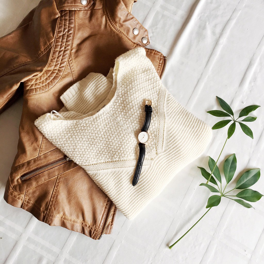 Brown Leather Jacket and White Sweater
