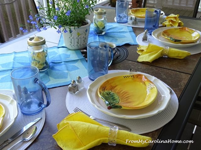 Blue and Yellow Outdoor Tablescape at From My Carolina Home