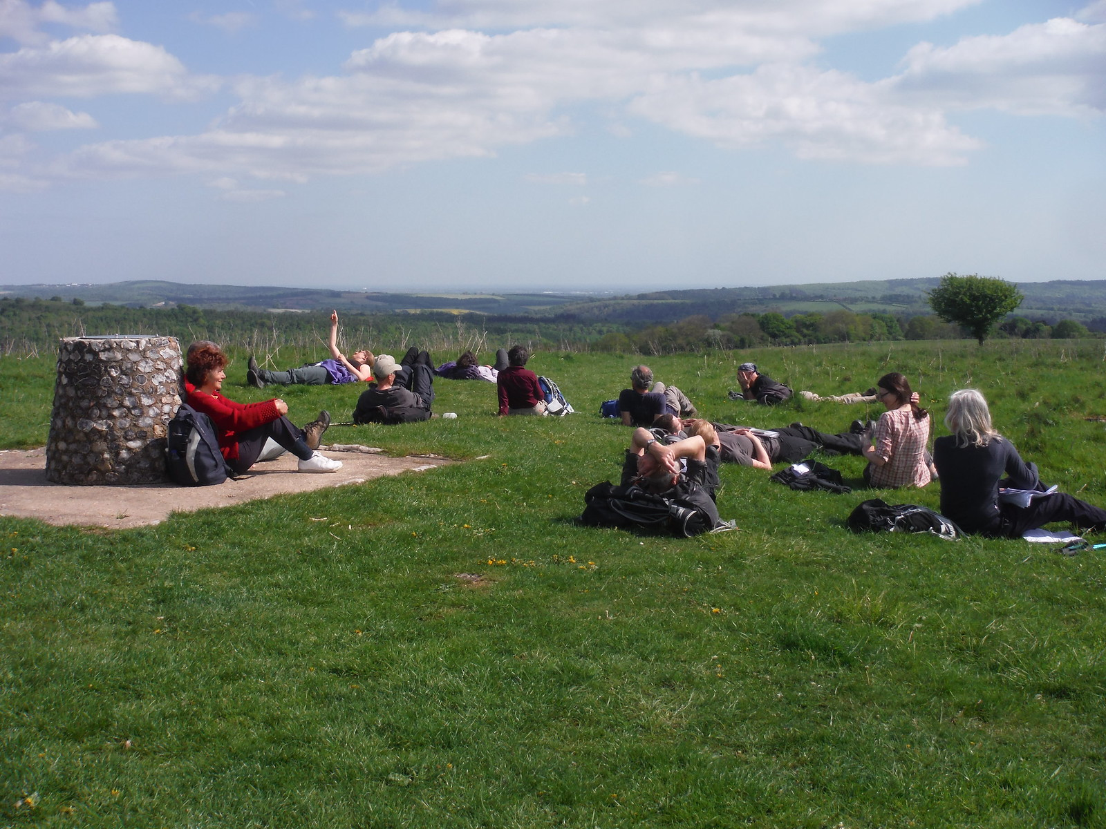 Toposcope on Beacon Hill, the SWC having a sunny break SWC Walk Rowlands Castle Circular - Extension