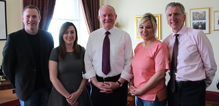 The new Sinn Féin ministerial team; Chris Hazzard, Megan Fearon, Martin McGuinness, Michelle O'Neill and Máirtín Ó Muilleoir.