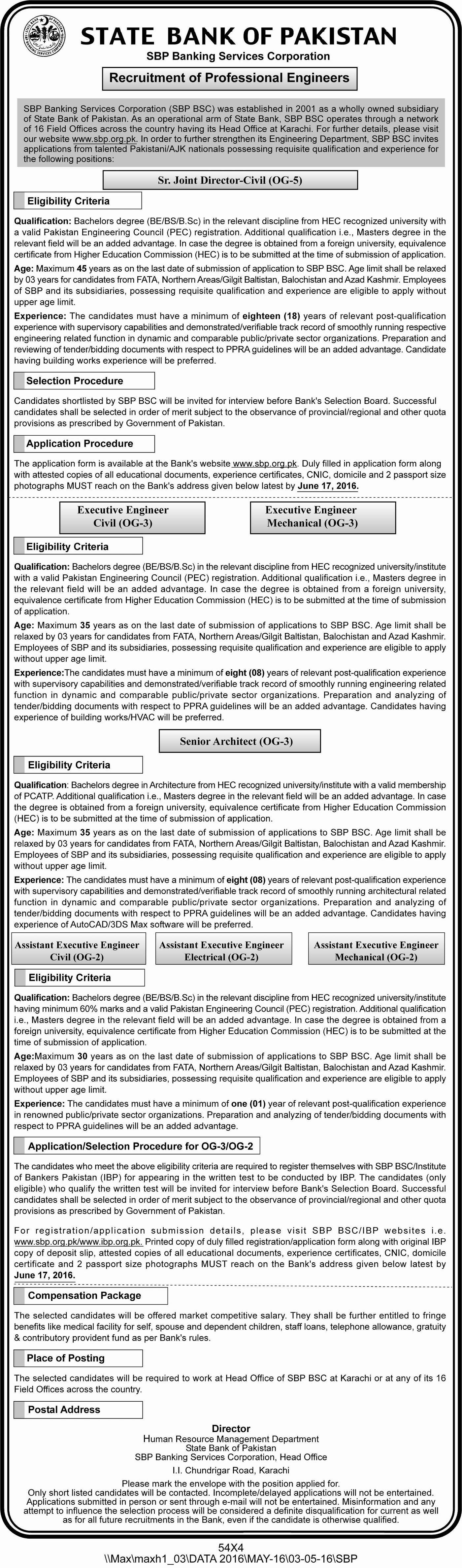 State Bank of Pakistan Jobs 2016