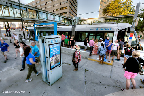 Kansas City Streetcar Stop with Smart City Post Kiosks