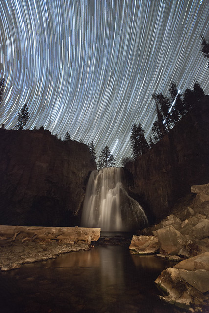 Star Trails Over Waterfall