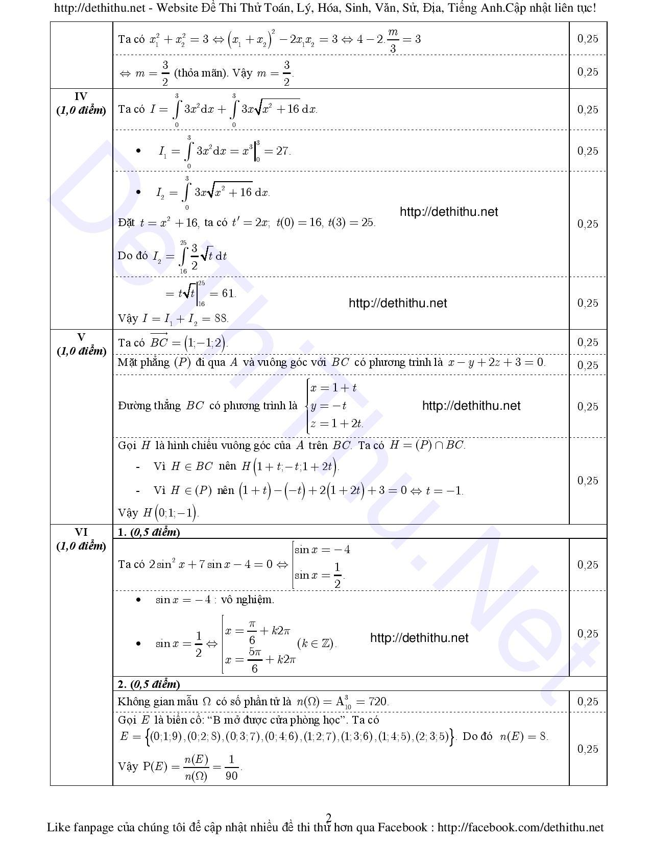 Đề thi môn Toán 2016 Bộ GD & ĐT và đáp án chính thức