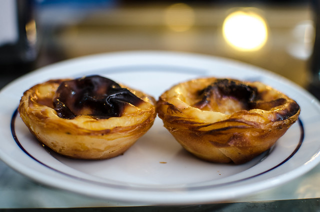 Perfect Pastel de Belém, fabulous flaky pastry filled with egg custard and a burnished top.