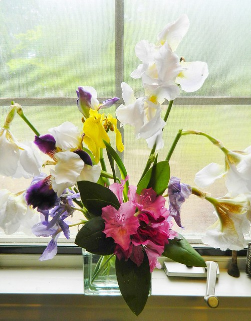 bouquet of rhododendron and iris