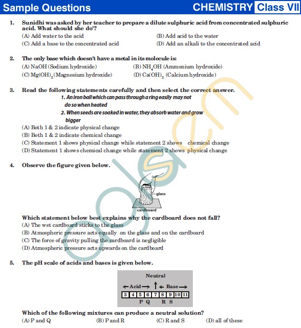 UCO 2013 Sample Papers for Class VII - Chemistry