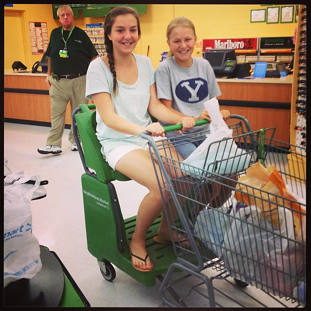After both getting shots, the girls wanted to ride in the cart at the grocery store. I told them I would push them if I could post it on Instagram!