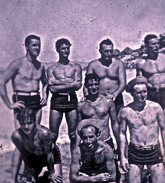 Vintage 1940s Photo: Group Of Men On A Beach