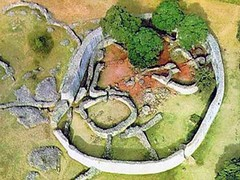 An aerial view of the Great Zimbabwe
