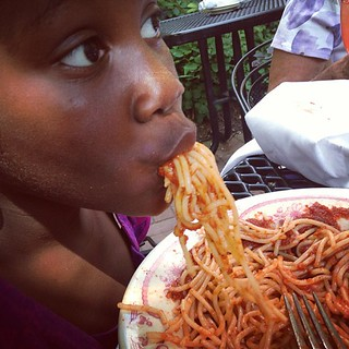 Black Girl Eating Spaghetty Messy 8-18-13