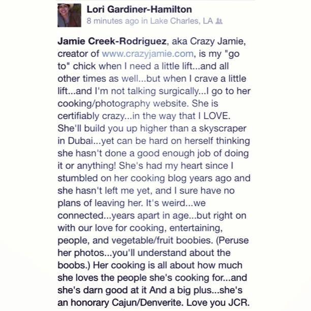 Kind words I received on my Facebook today. #feelingloved