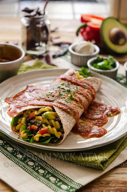 Born to Mac MoFo: Mexican Mac Burrito with Red Sauce