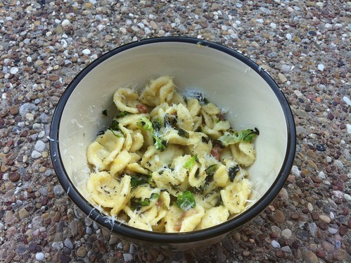 Orecchiette carbonara with charred Brussel sprouts Tarin
