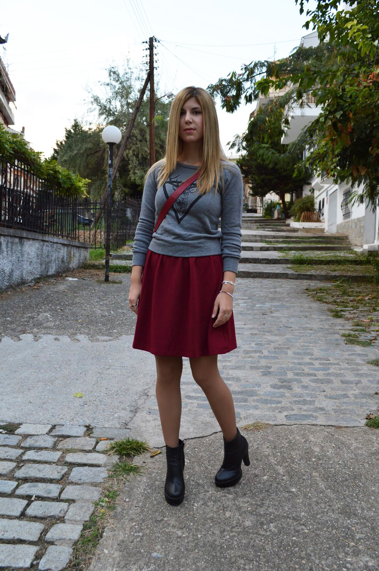 burgundy dress grey sweater9