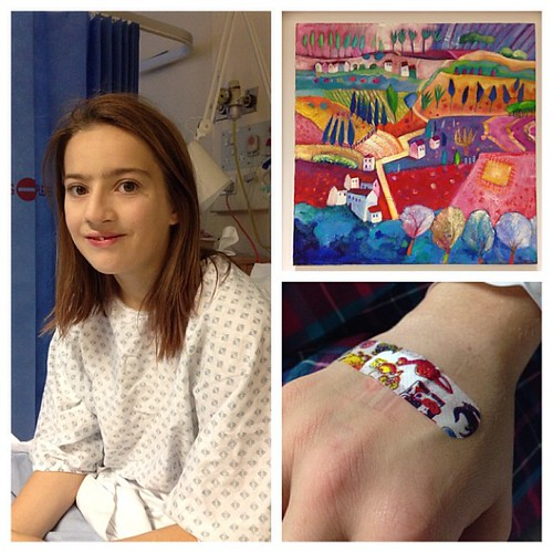 Best recovery from an op ever. And a dinosaur plaster. Easily pleased is Fran :)
