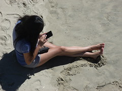 LOVELY LADY TEXTING ON BEACH, HERMOSA BEACH