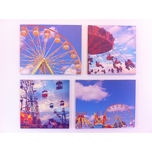 Wall of Whimsy. Photographs from 2 friends of Mike and I. I fell in love with some pics my friend Kyoko took at a fair in Oregon a couple years ago (top left and bottom right.) I was just about to get them printed when Mike saw the other 2 pics in his Ins