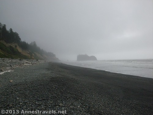 Hiking north along Ruby Beach, we looked back south for a picture, Olympic National Park, Washington