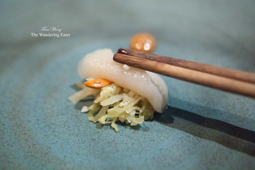 Course 14 = Barely warmed Diver scallop, fermeted cabbage, hazelnut