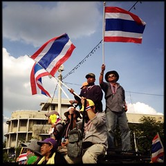 Protesters on the streets of Bangkok