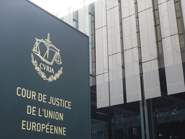 Court of Justice of the European Union main building and sign (Luxembourg)