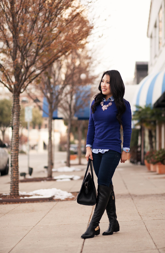 cute & little blog | gingham sweater layering, vince camuto bedina over-the-knee boots, crystal statement necklace, modify watch rainbow chevron outfit