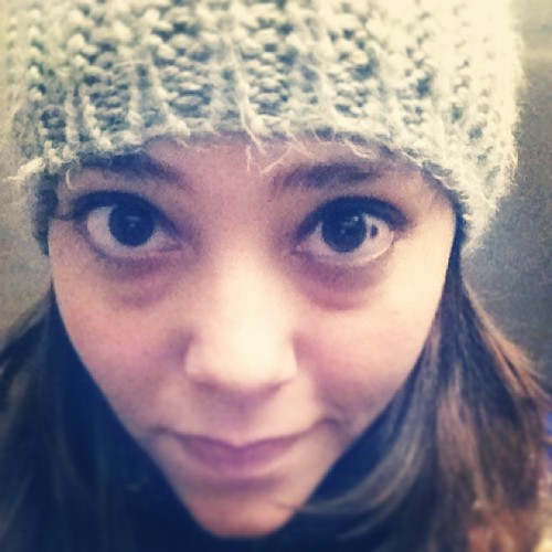 Cozy hat, crazy eyes!
