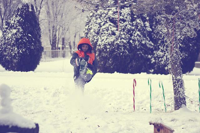 Kicking snow