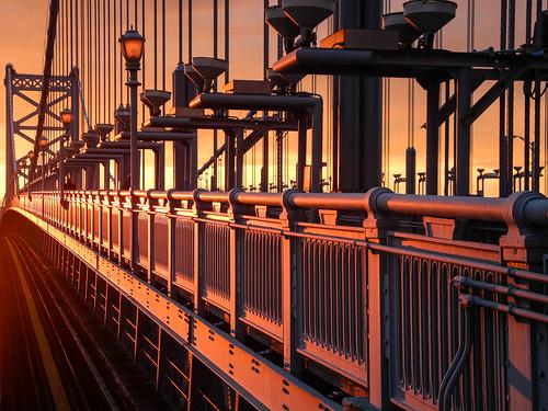 bridge sunset orange philadelphia grey geometry camden pa benfranklinbridge benjaminfranklinbridge innamoramento 15challengeswinner challengegamewinner winnerschallenge
