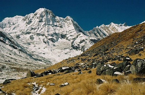 autumn nepal mountain snow 2004 analog trekking trek landscape 1 rocks wind south peak glacier round summit himalaya annapurna sanctuary fang annapurnas canoneos300 chuli i bharha