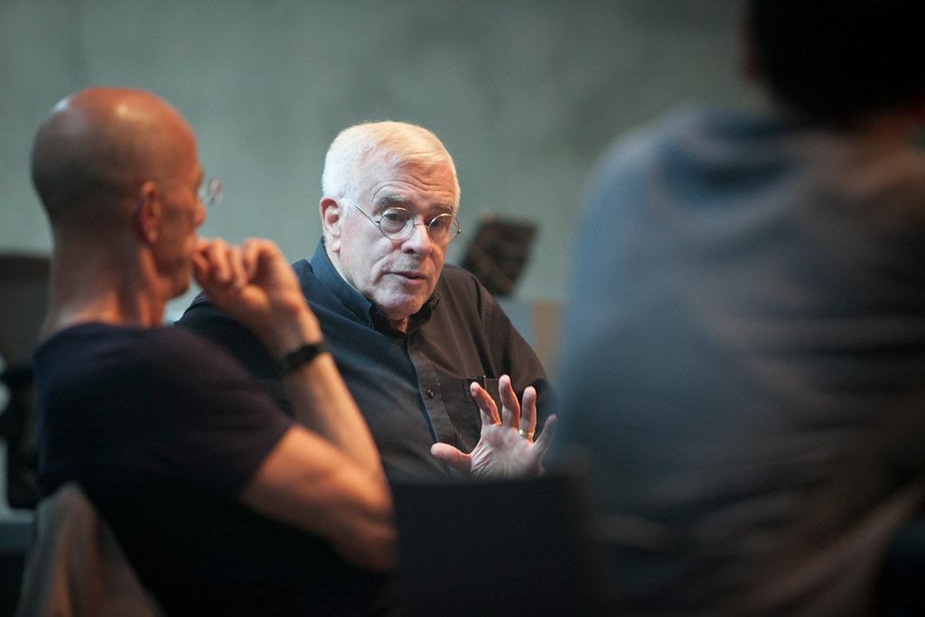Peter Eisenman (B.Arch.'55), during the afternoon discussion with Herzog.