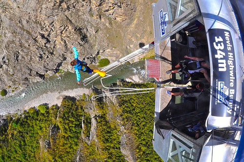 Lina jumping from AJ Hackett's Nevis Highwire Bungy