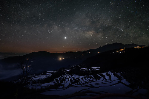Yunnan Rice Terrace under Milky Way