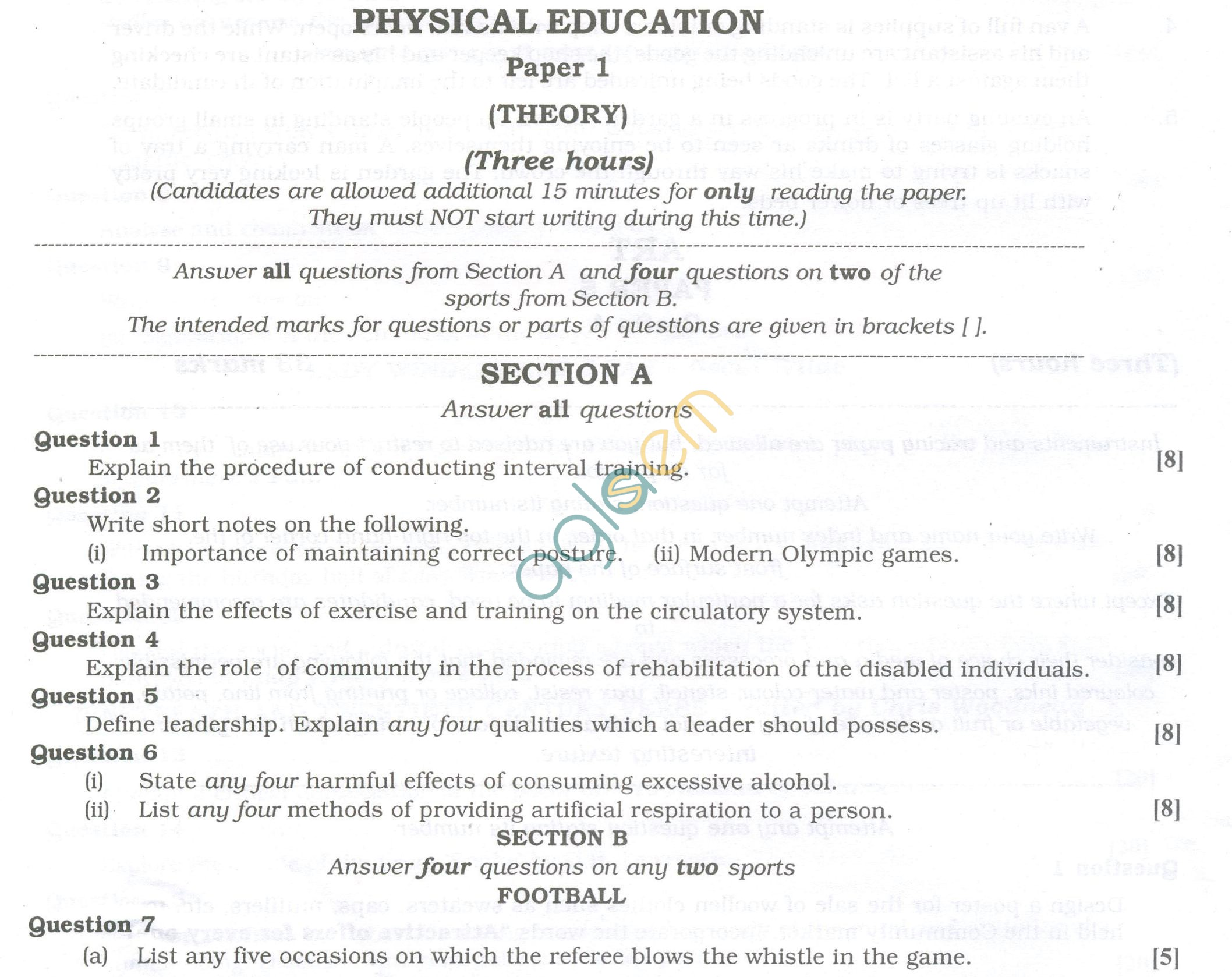 ISC Question Papers 2013 for Class 12 - Physical Education