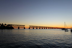 Old railroad bridge at Bahia Honda anchorage, sunset