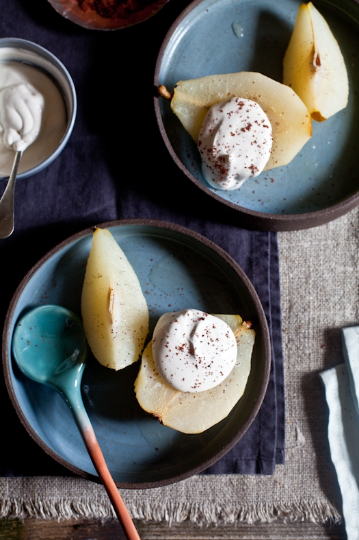 Poached Pears With Sumac & Creme Fraiche