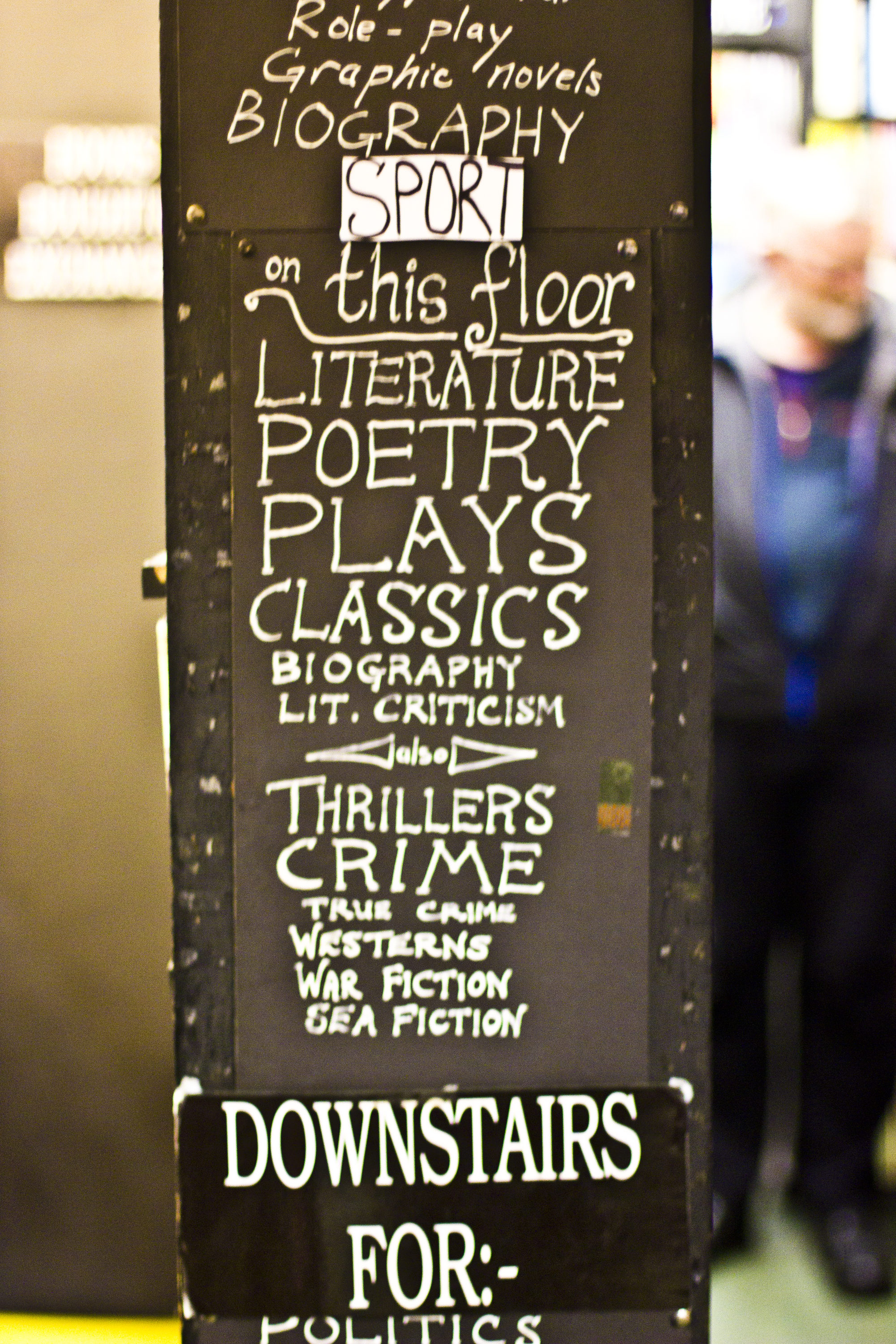 second hand book store sign