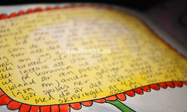 Writing detail - in a flower block