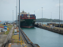 Freighter moving torward visitors center in Gatun Locks