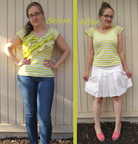 Yellow Striped Tee - Before & After