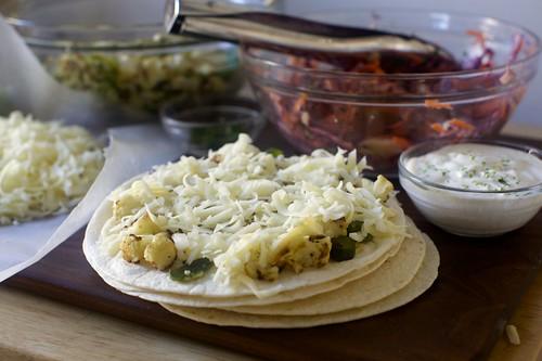 assembling the quesadillas