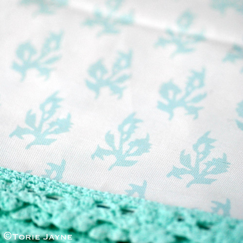 Maya block print in white & duck egg blue
