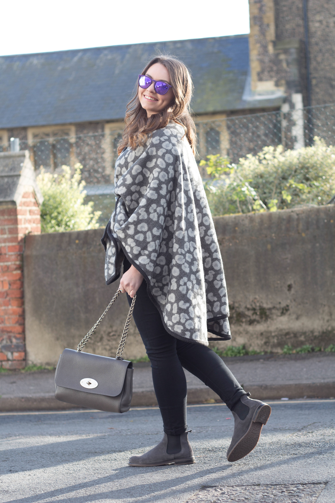 Ellie Maydoll mulberry and leopard cape