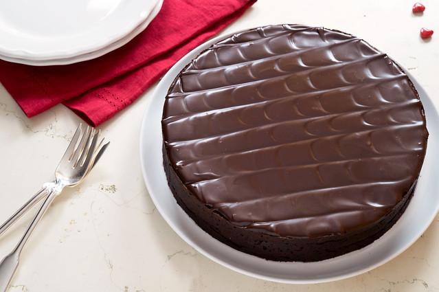 Glazed torte, served