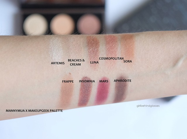 MannyMUA x MakeupGeek palette swatches